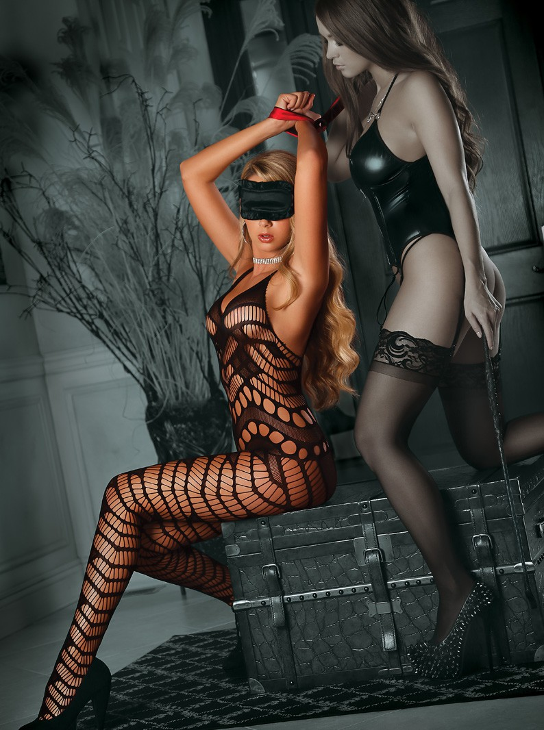 Bondage Crotchless Bodystocking Set with Blindfold, & Restraints