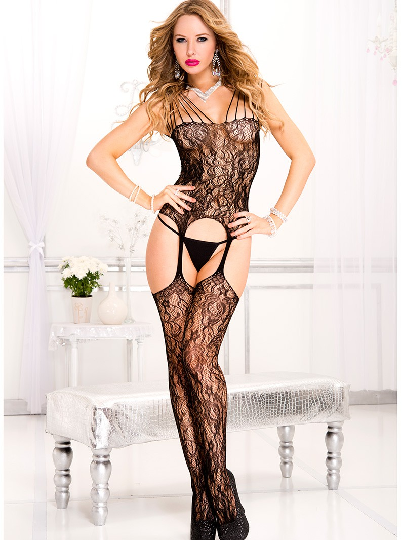 Strappy Lace Chemise with Attached Thigh Highs