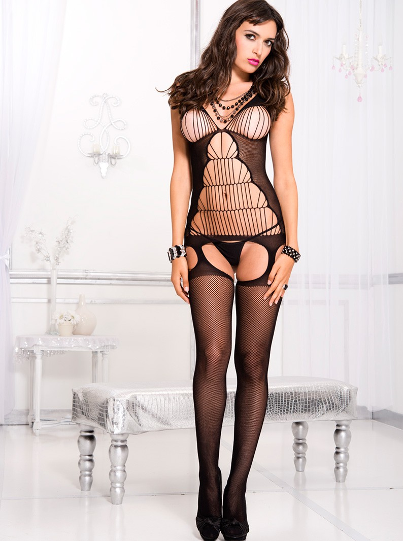 Strappy Fishnet Open Bust Chemise with Attached Thigh Highs