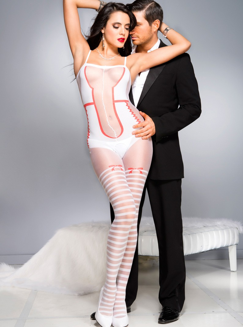 Faux Teddy & Striped Thigh Highs Crotchless Bodystocking W/ Red