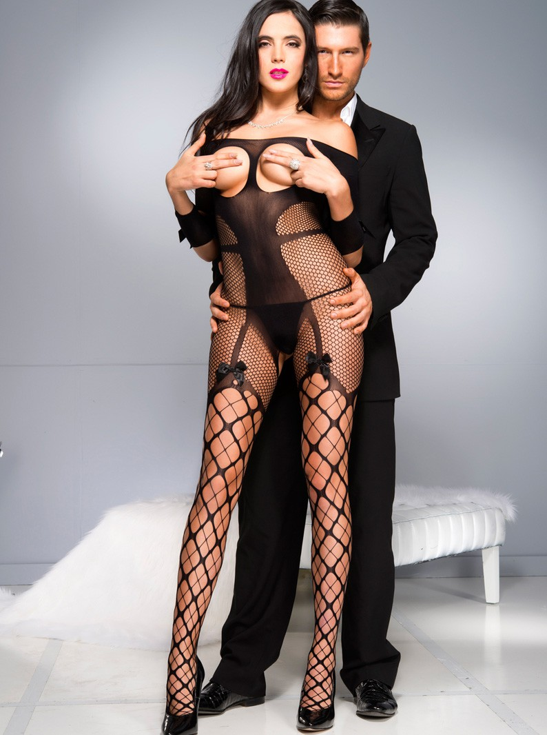 Seamless Knit & Fishnet Cupless/Crotchless Bodystocking