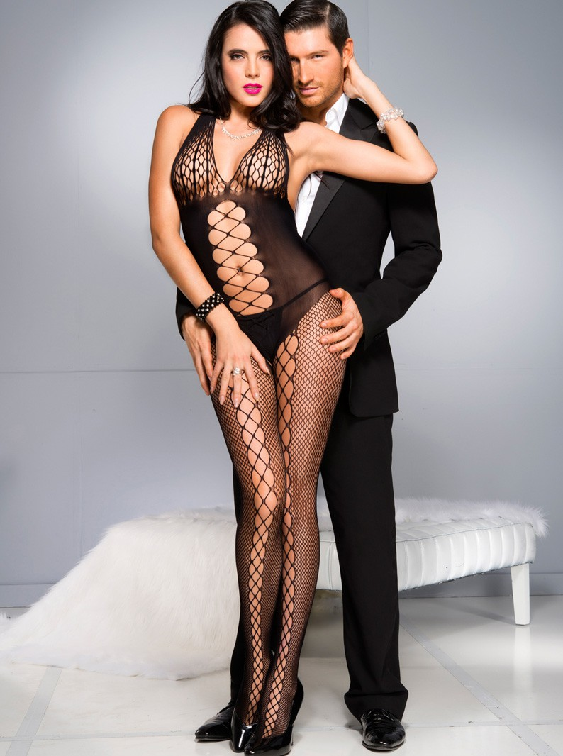 Criss-Cross Fishnet Crotchless Bodystocking