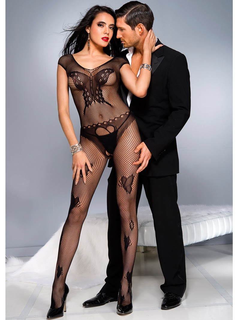 Fishnet & Butterfly Lace Crotchless Bodystocking