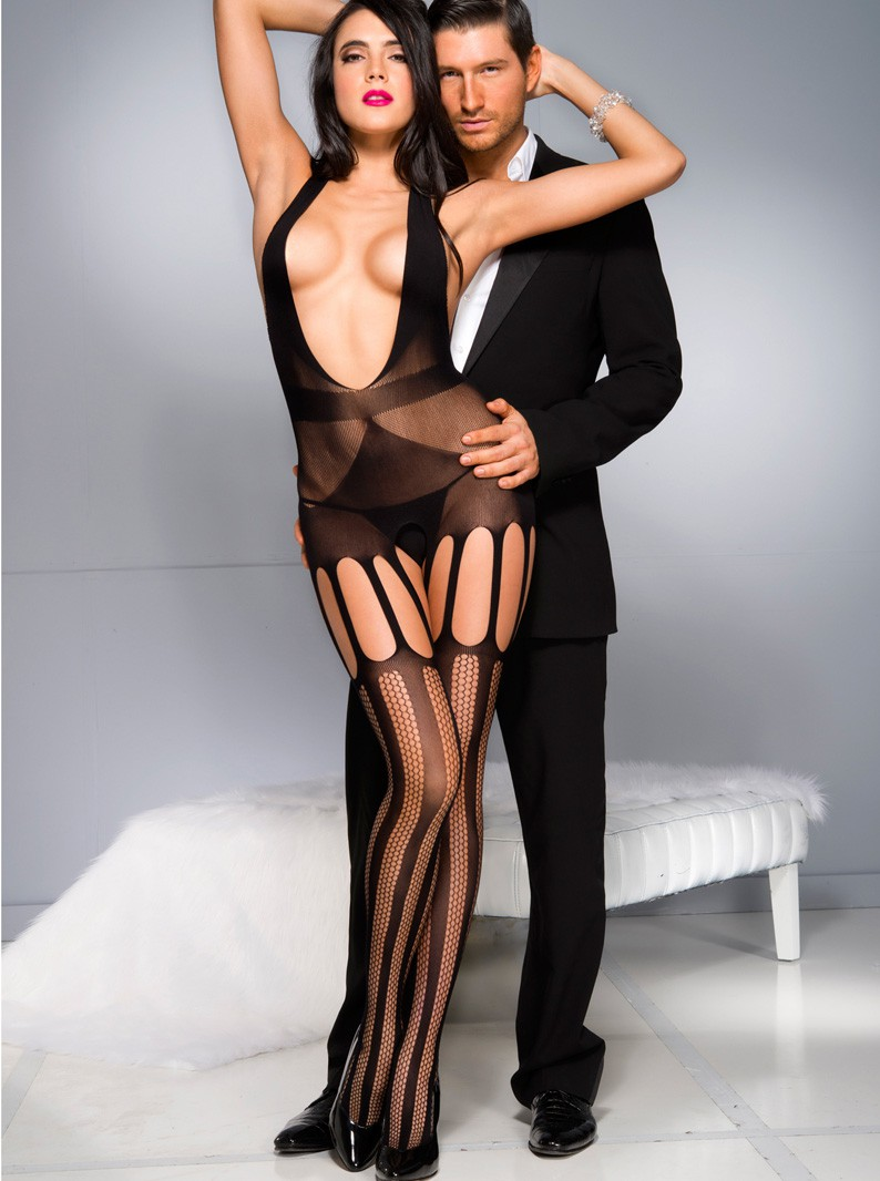 Seamless Knit Crotchless & Open Butt Bodystocking w/ Strappy
