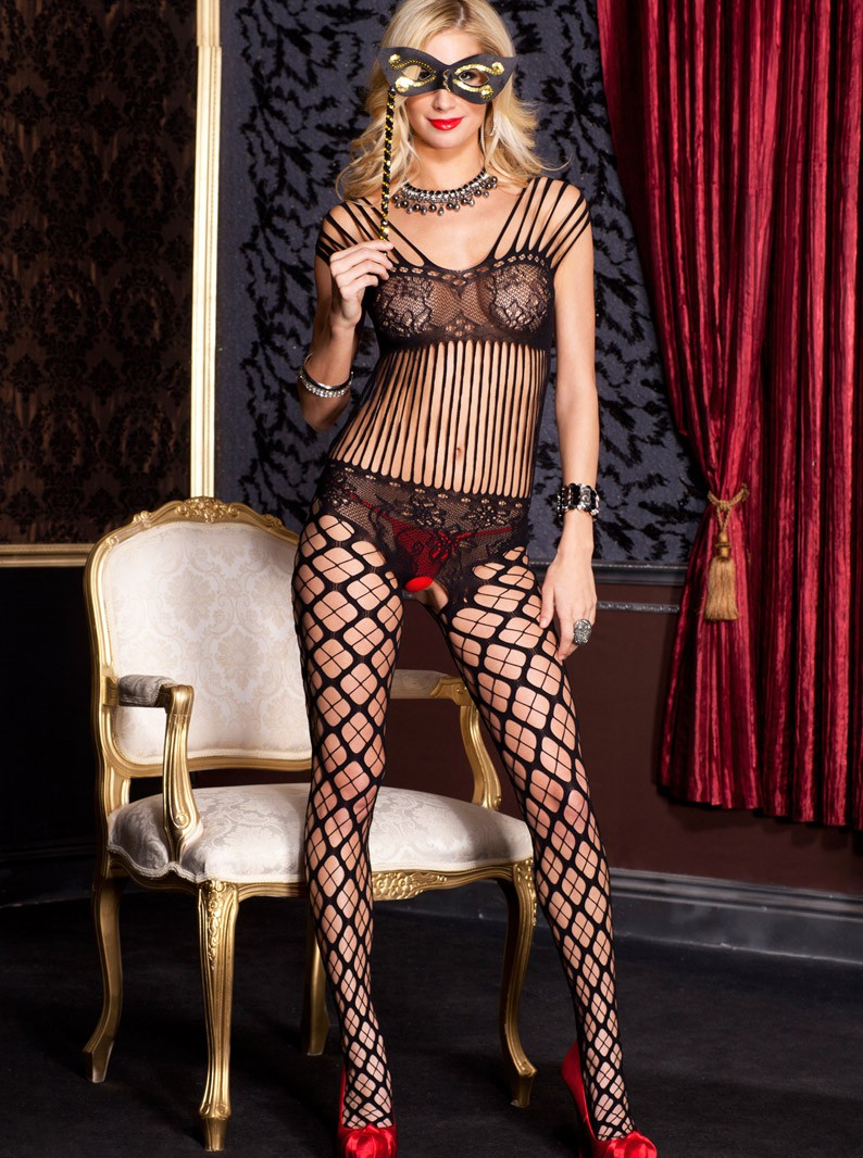 Black Seamless Knit Crotchless Bodystocking W/ Bra & Panty Silho