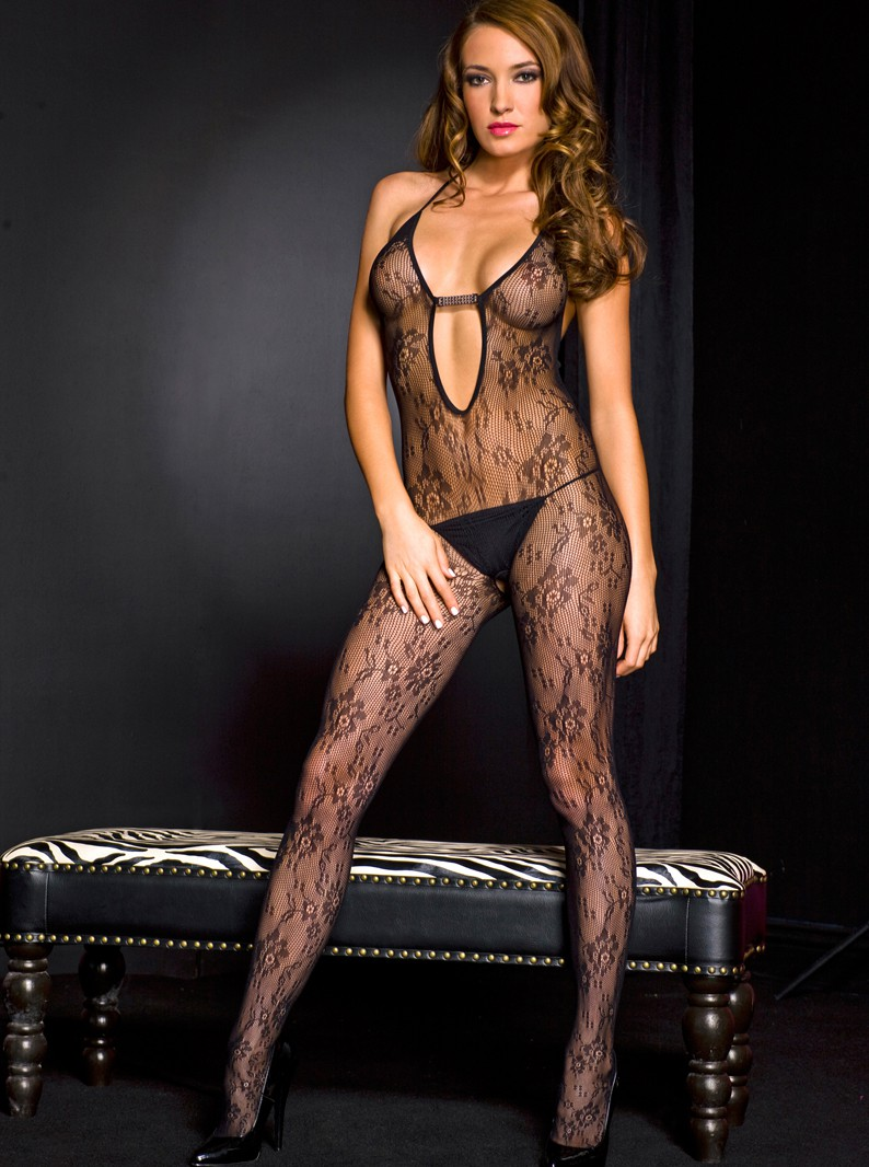 Black Floral Lace & Jeweled Crotchless Bodystocking