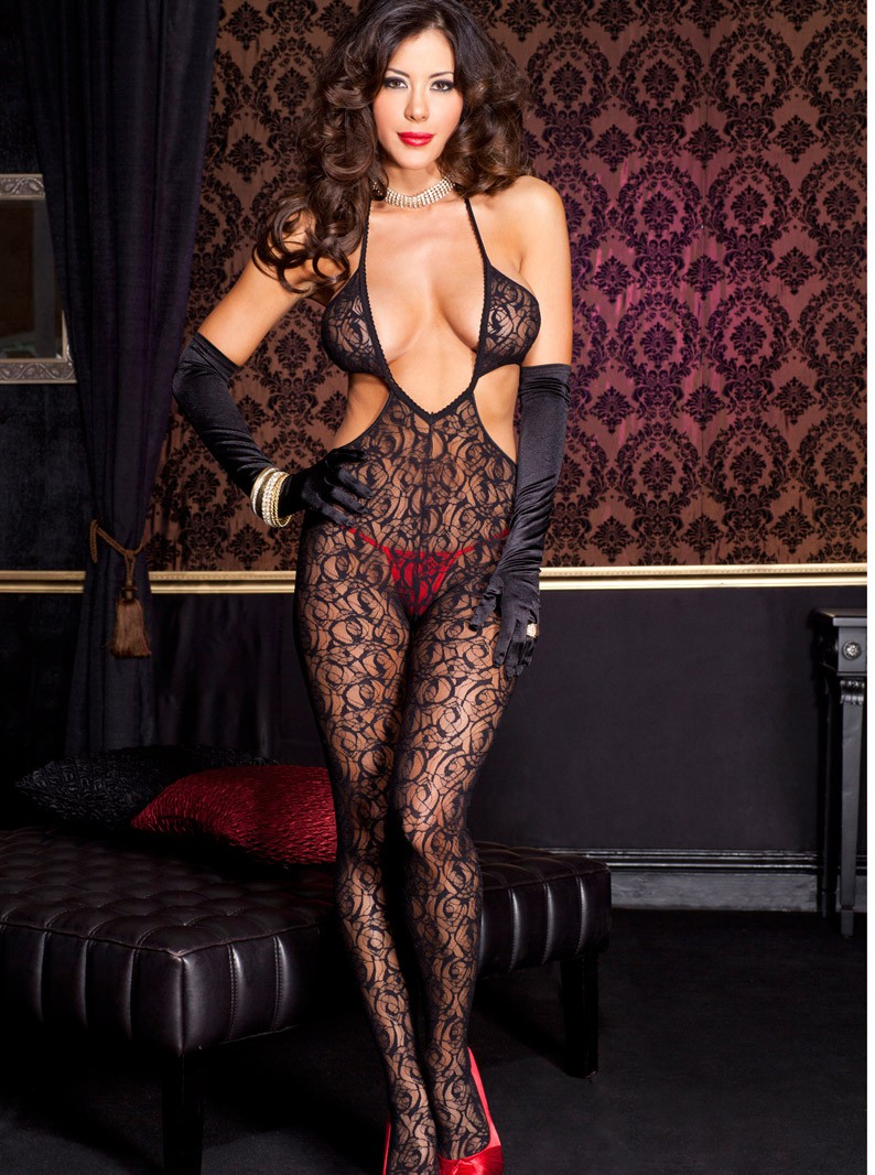 Black Swirl Lace Cut-Out Bodystocking W/ Open Crotch