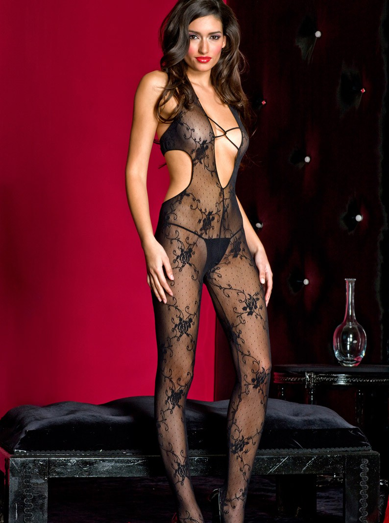 Black Lace V-Front Bodystocking W/ Open Crotch
