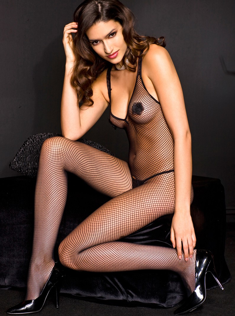 Black Fishnet & Rosebuds Crotchless Bodystocking
