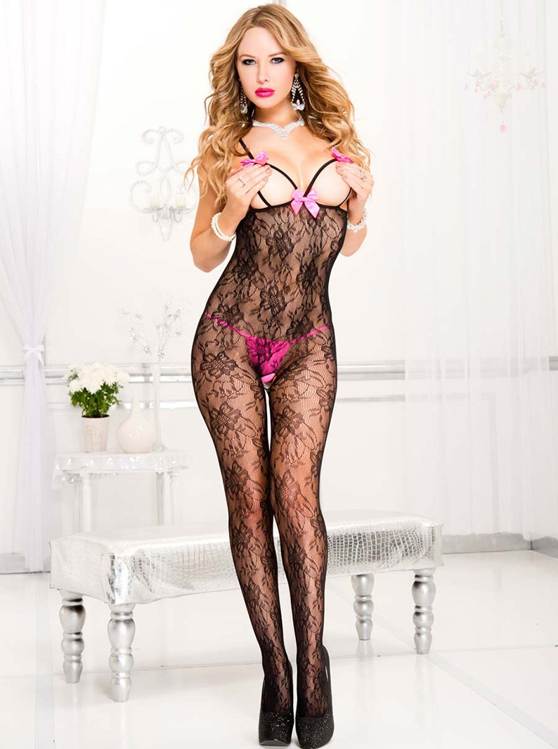 Strappy Open Bust Lace Bodystocking with Open Crotch