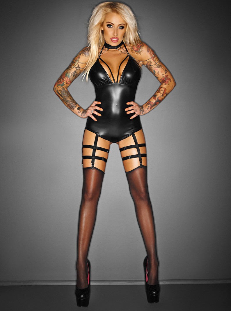 Black Wet Look & Chains Bodysuit W/ Strappy Garters