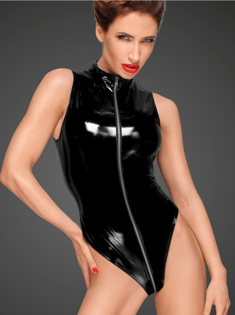 VINYL SLEEVELESS TEDDY W/ 3-WAY ZIPPER
