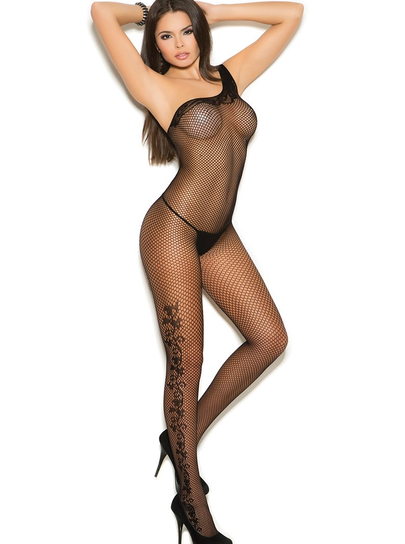 Black Fishnet Single Shoulder Bodystocking W/ Open Crotch
