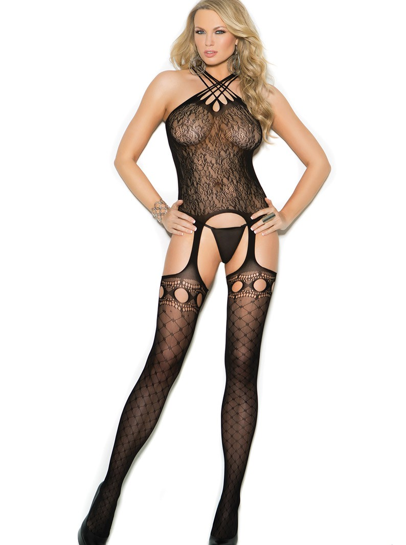Black Lace & Seamless Knit Suspender Bodystocking W/ Open Crotch