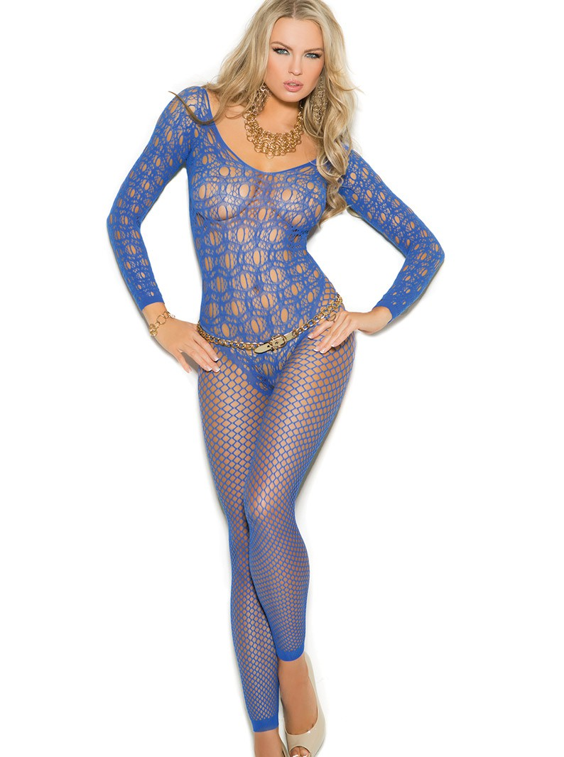 Royal Blue Seamless Knit Footless Bodystocking W/ Open Crotch
