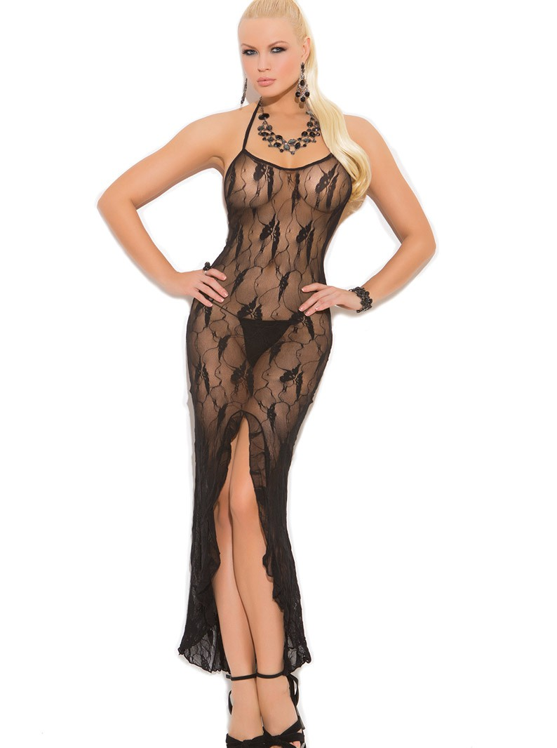 Butterfly Lace Gown W/ Front Slit