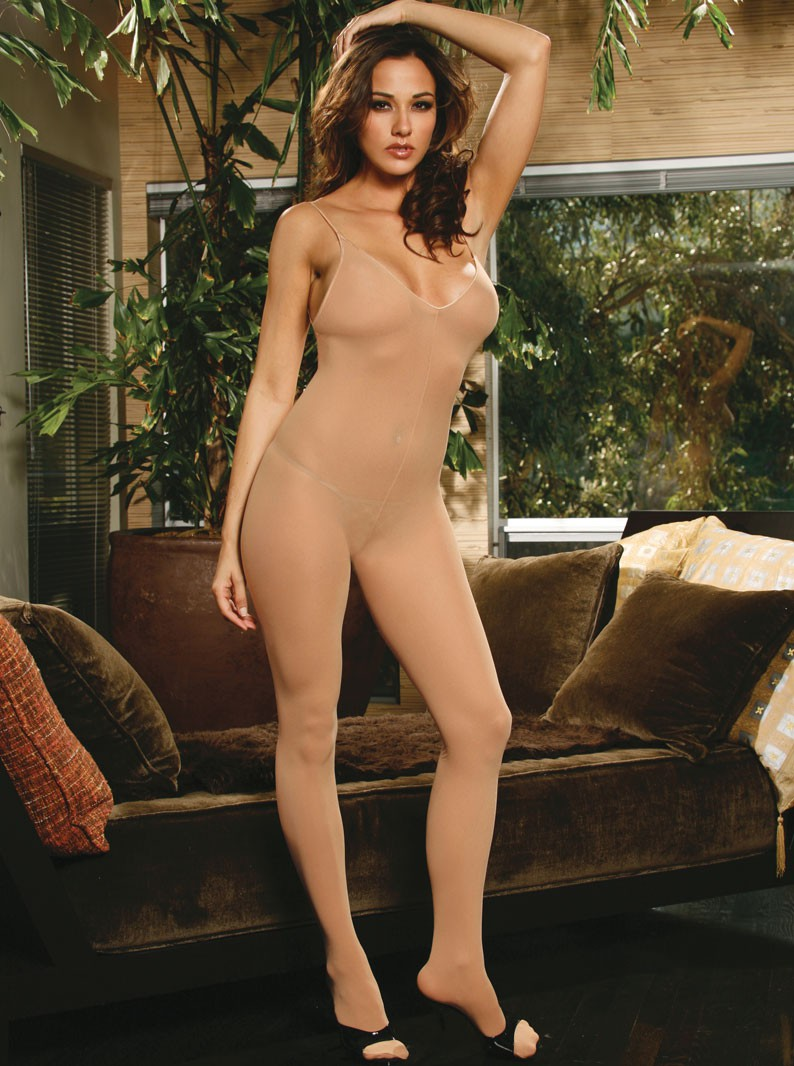 Nude Opaque Crotchless Bodystocking