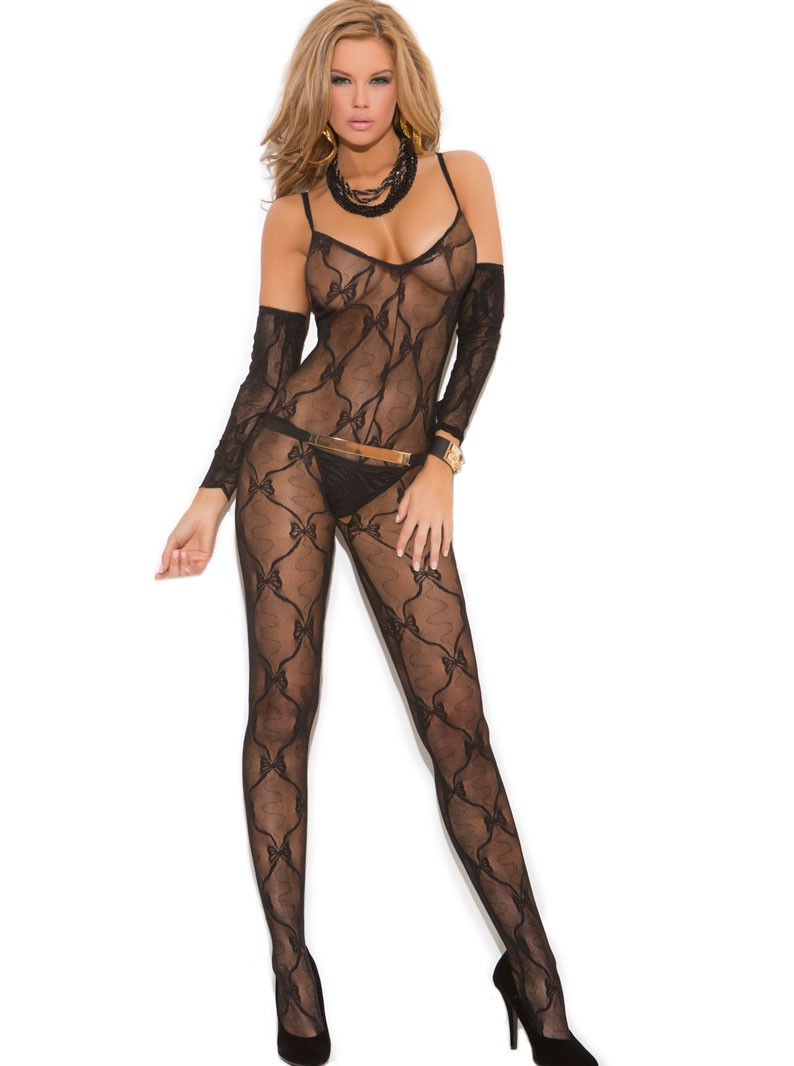 Bow Lace Crotchless Bodystocking with Arm Gauntlets