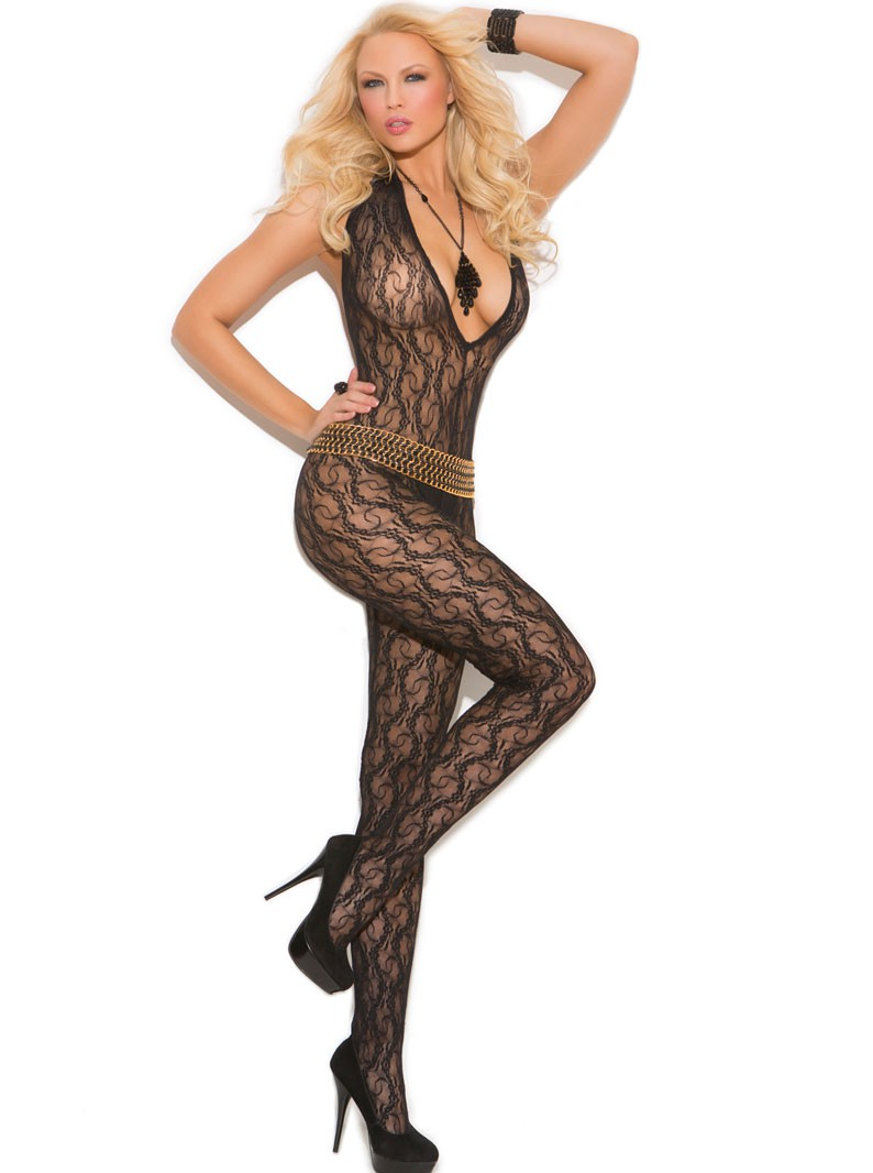 Lace V Crotchless Bodystocking