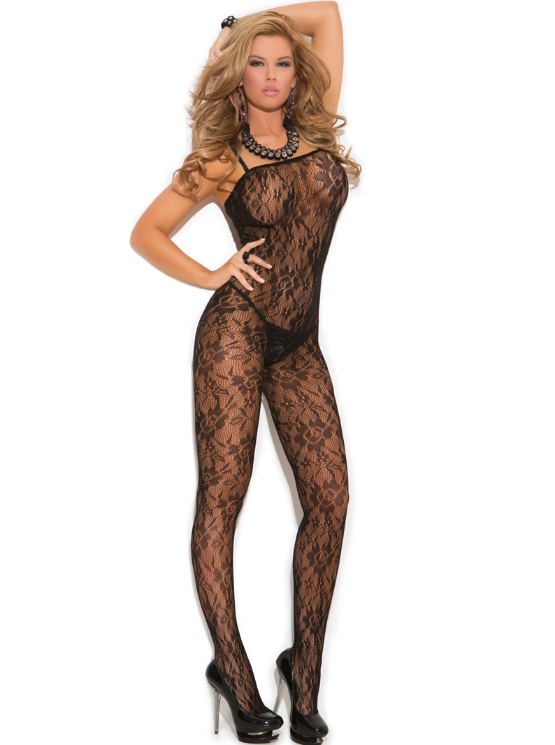 Rose Lace Crotchless Bodystocking
