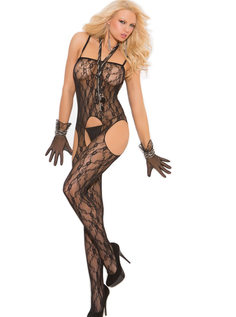 Lace Crotchless, Booty Out Suspender Bodystocking