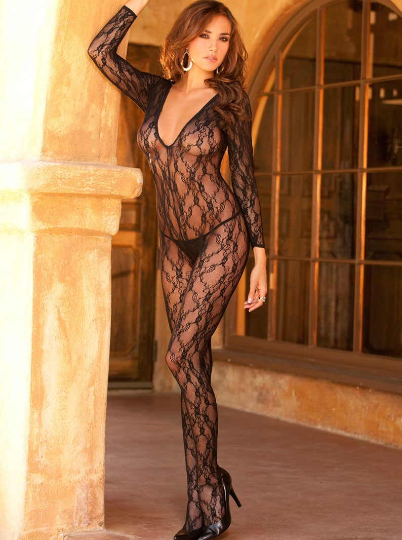 Open Crotch Deep V Long Sleeve Bodystocking