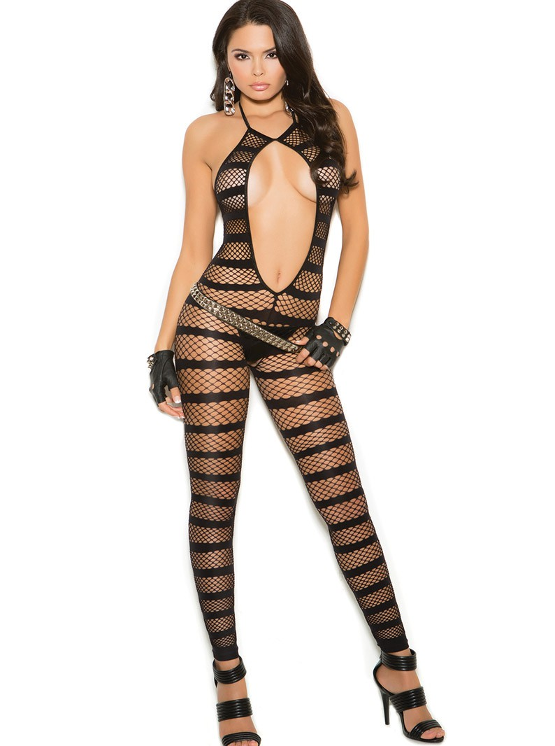 Fishnet & Stripes Cut-Out Footless Bodystocking W/ Open Crotch