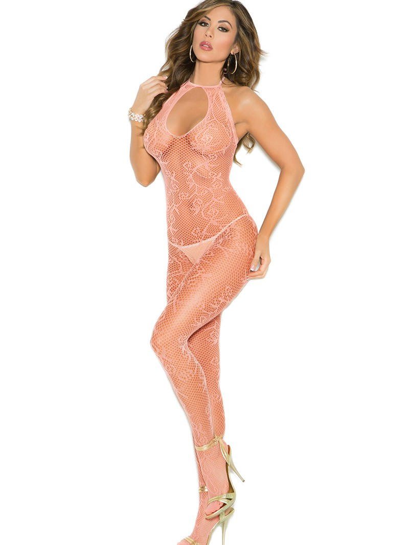 Peach Scroll Pattern Fishnet Crotchless Bodystocking