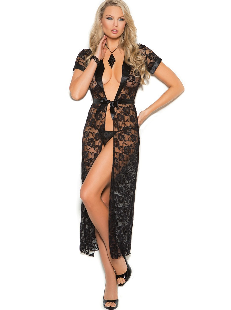 Black Lace Short Sleeved Long Robe & G-String