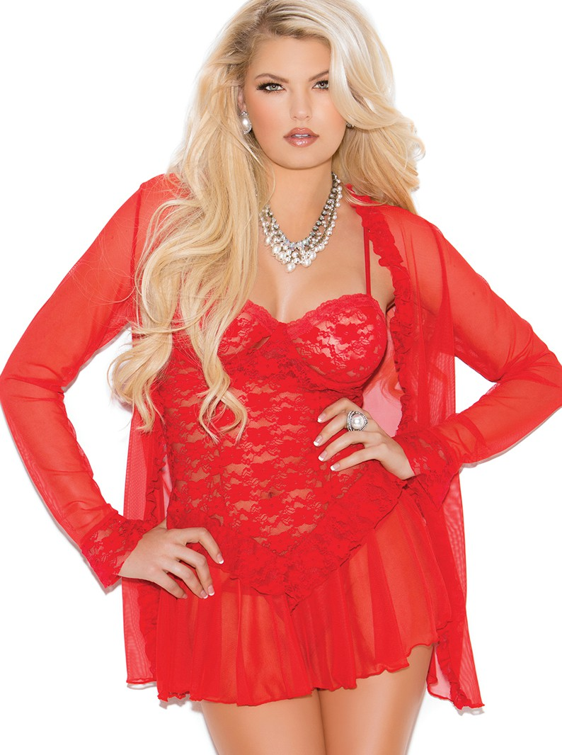 Lace Underwired Babydoll, Mesh Robe & G-String Panty Set