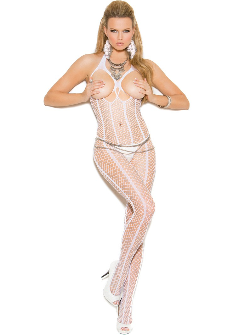 White Crochet Crotchless Bodystocking with Open Bust