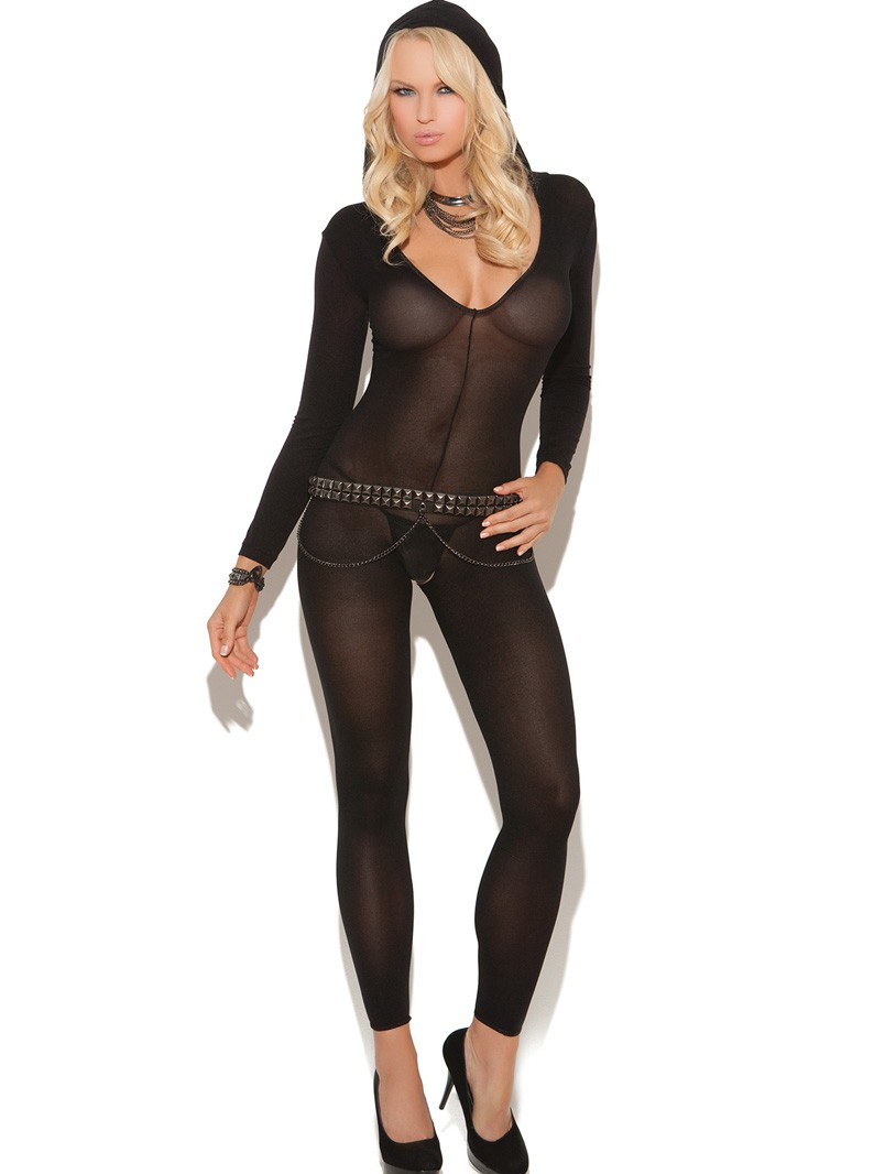 Hooded Footless Opaque Bodystocking