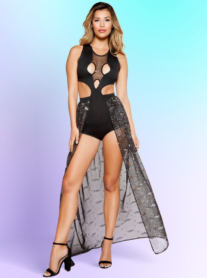 Cut-Out Romper-Gown W/ Attached Sequin Skirt