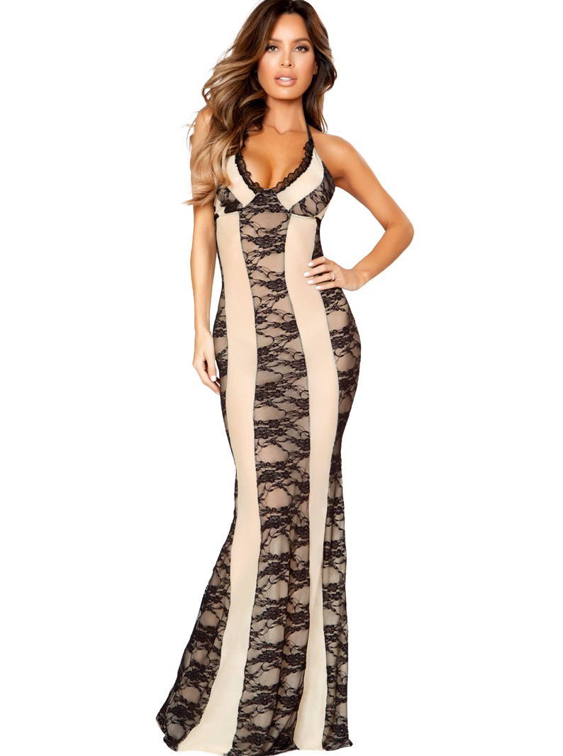 Nude & Black Lace Overlay Gown
