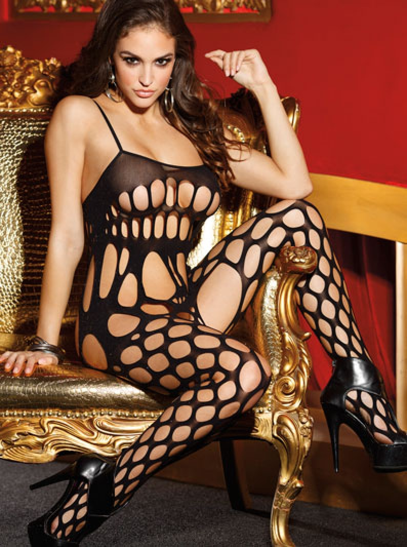 Shredded Net Open Crotch Bodystocking