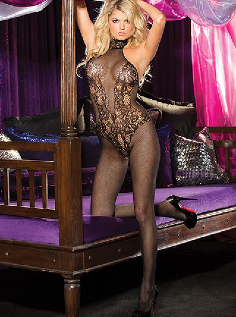 Fishnet & Lace High Neck Bodystocking