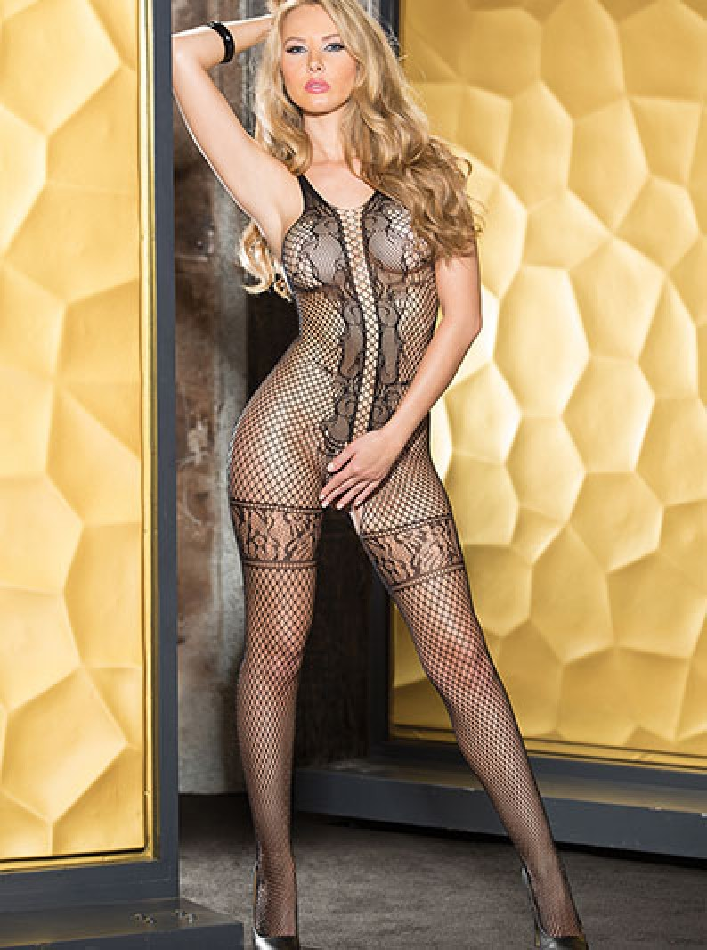 Crotchless Fishnet & Lace Bodystocking