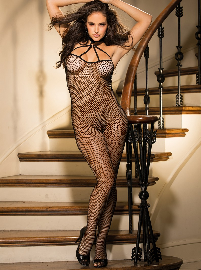 Black Fishnet Crotchless Bodystocking W/ Strappy