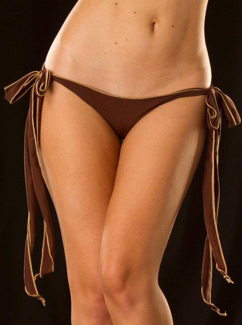 Matte Long Tie-Side Brazilian Bikini Bottom
