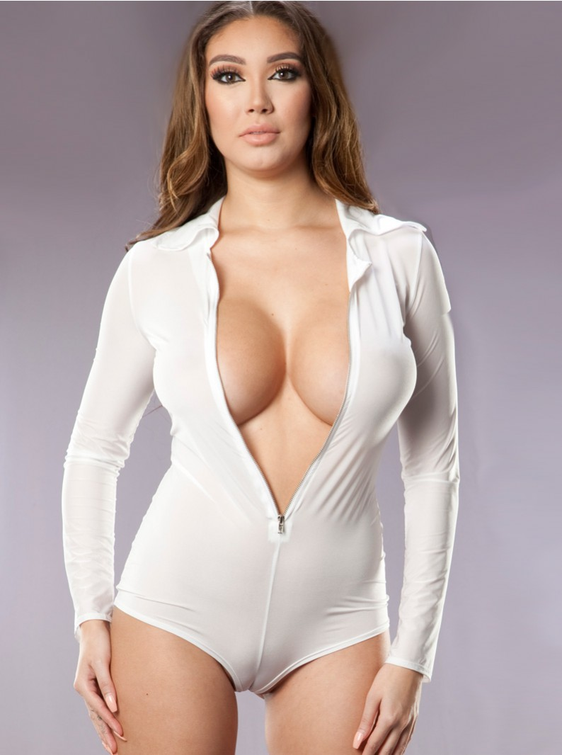 Second Skin Zip Front Romper