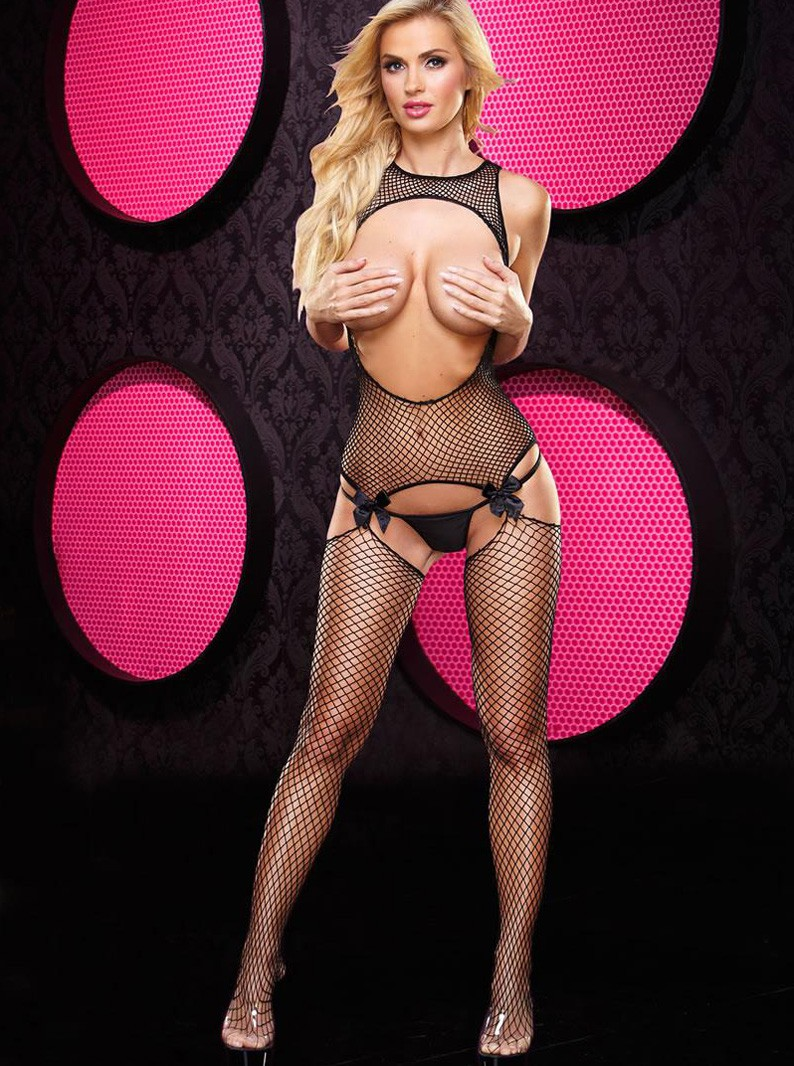 Crotchless Fishnet Open Bust Bodystocking
