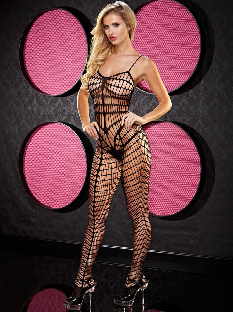 Black Seamless Multi Pattern Bodystocking